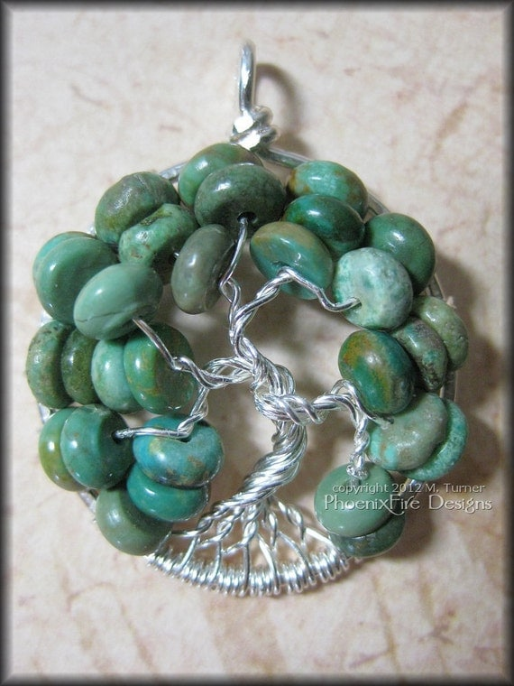 December Tree - Tree of Life Pendant in Natural Turquoise Gemstone and Sterling Silver Wire Wrapped