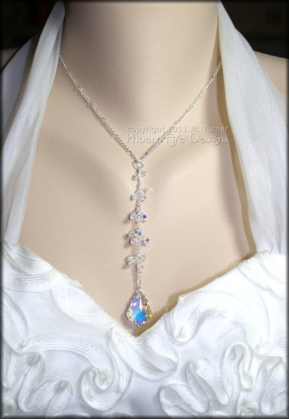 Wedding Swarovski Crystal Necklace Baroque Dangle Cluster AB Finish Sterling on Silver Figaro Chain Bride Bridal