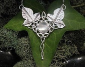 Elvish Celtic Woodland Leaf Pendant with 16 Inch Box Chain, LOTR inspired Necklace, Handmade .925 Sterling Silver, One of A Kind Jewelry