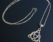 Celtic Knot Necklace, Handmade Trinity Eternity Knot Pendant Necklace, Sterling Silver Celtic Jewelry in Sterling Silver, 16 Inch Box Chain