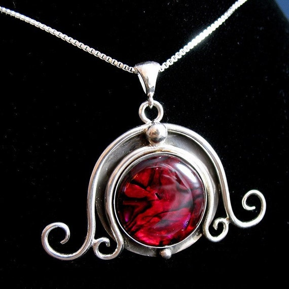 Sterling Silver Red Paua Shell Witchblade Pendant Necklace with 18 inch Box Chain .925, Handmade, Pendant Jewelry OOAK