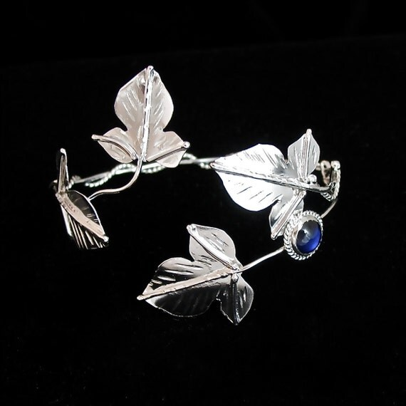Ivy Leaf Wrap Bracelet Cuff with Blue Sapphire
