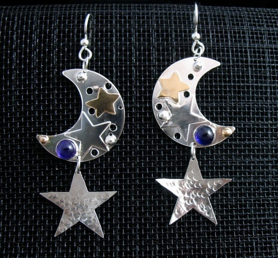 Crescent Moon and Star Earrings, 14K gold-filled stars, Sterling Silver crescent moons with Gemstones