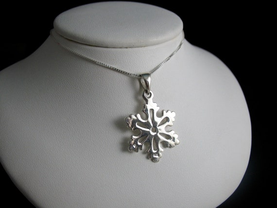 Winter Snowflake Pendant Necklace 18 Inch Box Chain - Sterling Silver, Handmade