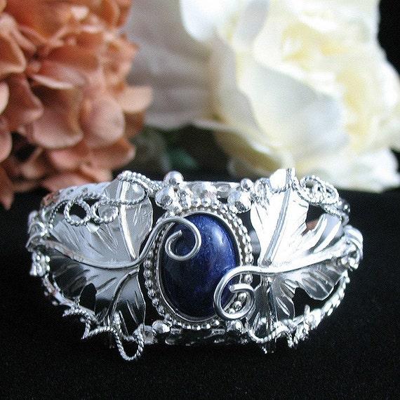 Woodland Leaves Bracelet Cuff in Sterling Silver