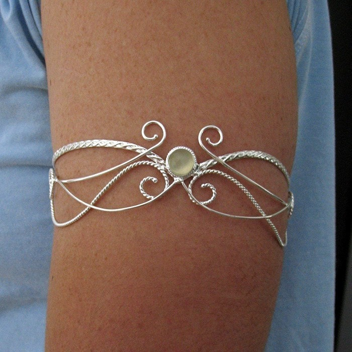 upper arm torc cuff moonstone in sterling silver ooak