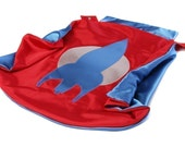 Child Superhero Cape Costume by Little Hero Capes - Red and Blue - Rocket Design