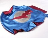 Superhero Cape by  Little Hero Capes - Blue and Cranberry -  Lightening Bolt Design