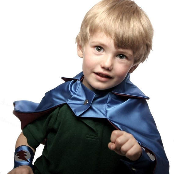 Reversible Super Hero Cape for Children - Blue and Cranberry - Superhero Blank