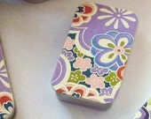 Mini Tin Chiyogami  Purple/Flowers
