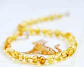 Amber Teething Necklace - Lemon Cognac Rounds