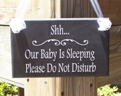 Whimsical Cottage Chic Home Decor Wood Vinyl Sign - Shh Baby Sleeping Please Do Not Disturb