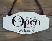 Whimsical Chic Style Shop Open Welcome Closed Please Come Again Wood Vinyl Sign Business Office Supply Scalloped Design Massage Salon Spa
