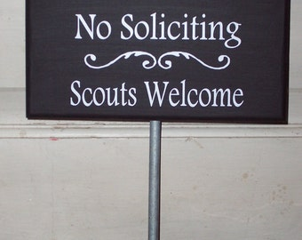 No Soliciting Scouts Welcome Wood Vinyl Rod Stake Sign Whimsical Heritage Cottage Plaque Garden Yard Art Year Round Solution Handmade USA