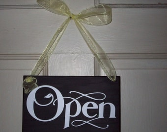 Whimsical Shop Open Closed Wood Vinyl Sign Two Sided Hair Salon Massage Therapy Treatment Beauty Office Supply Shop Sign Door Hanger Sign
