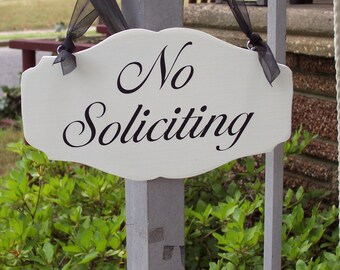Elegant Vintage Chic Style Scallop Design No Soliciting Wood Vinyl Sign Door Porch Hanger Home Living Garden Decor Soft Touch Strong Message
