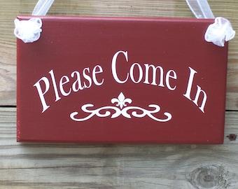 Please Come In Wood Vinyl Sign Alternative Open Welcome Invite Primitive Rustic Barn Red Ooak Business Office Supplies Decorative Door Hang