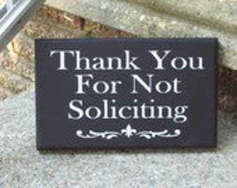 Thank You No Soliciting Wood Decor Vinyl Sign New Home Gift Business Office Supply Porch Wreath Door Hanger Wall Decor Porch Do Not Disturb