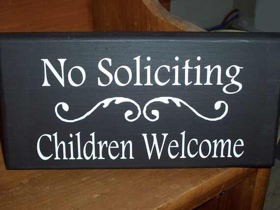 Whimsical No Soliciting Children Welcome Wood Vinyl Sign Kid Boy Girl Door Lawn Gate Yard Hanger Do Not Knock Disturb Unless Cookies Candy