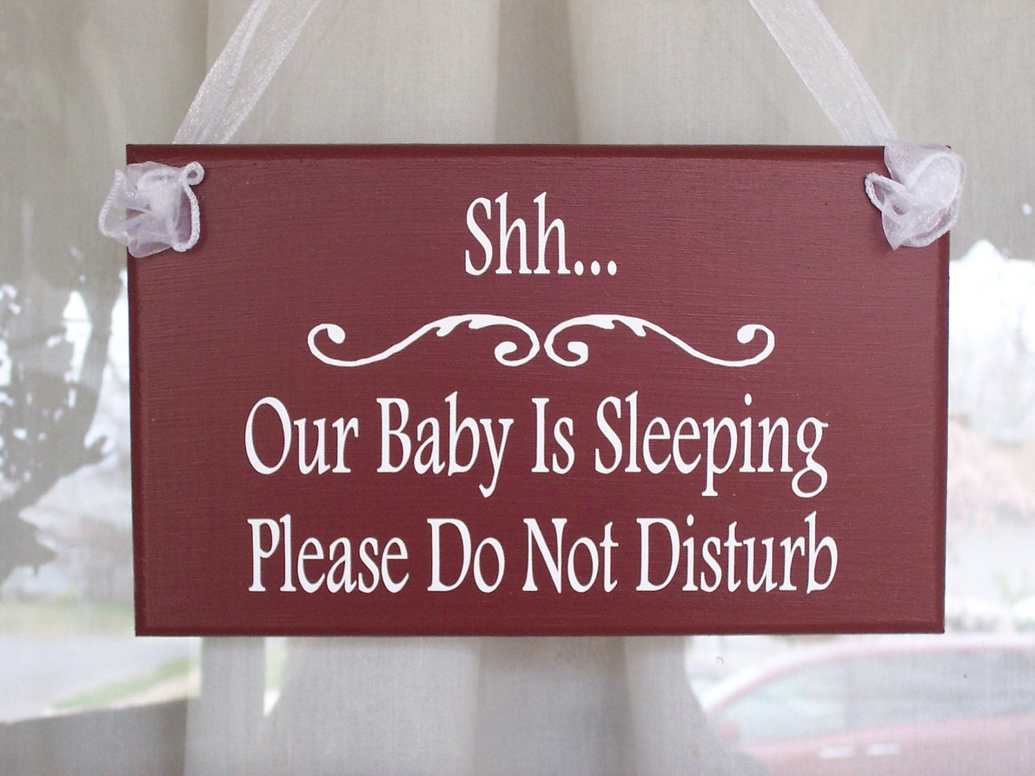 Shh Baby Sleeping Do Not Disturb Wood Vinyl Signs Country Red