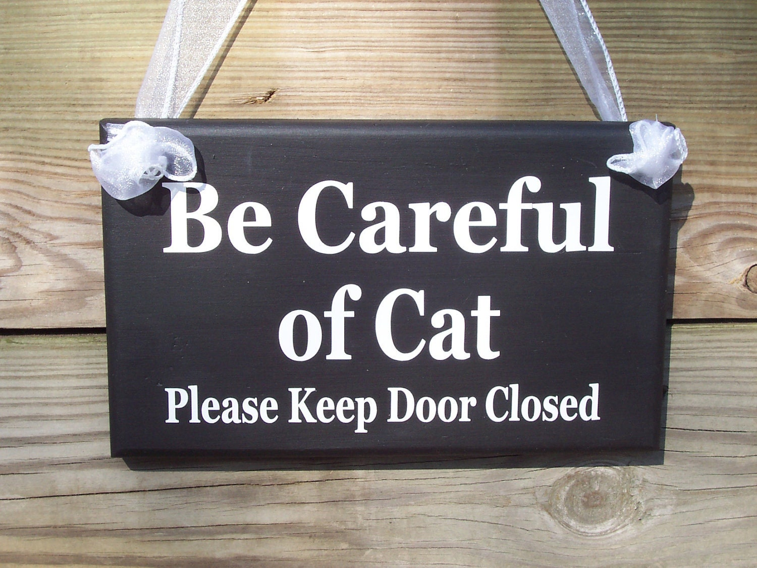 Be Careful Of Cat Please Keep Door Closed Wood Vinyl Sign