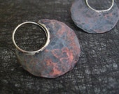 Medium distressed copper blade earrings FREE domestic shipping