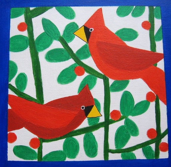 Two Red Cardinals Original Painting