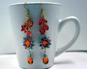 Salsa - swarovski crystal sun earrings with amazonian rainbow glass earrings