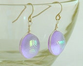 Lavender with Dichroic Fused Glass Earrings With Sterling Silver French Wires
