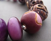 Plum Chunky Gemstone Bracelet, Purple, Brown, Pink