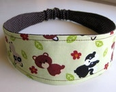 Woodsy Friends and Brown Polka Dots Reversible Hair Headband