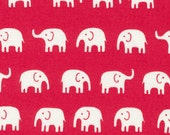 Japanese Cotton Fabric, White Elephants on Red, Kawaii, Half Yard