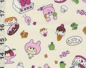Japanese Fabric: Tamagotchi Tama Town in  White  - Kawaii  Half Yard
