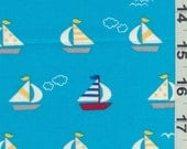 Japanese Fabric - Sail Boats  Blue Cotton, FQ
