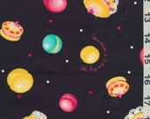 Japanese Cotton Fabric: Macaroons and Sweets, Black