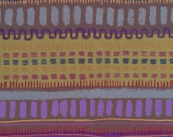 Japanese Fabric: Keiko Goke, Cheerful Stripe Olive Blue, Cotton Print, Half Yard