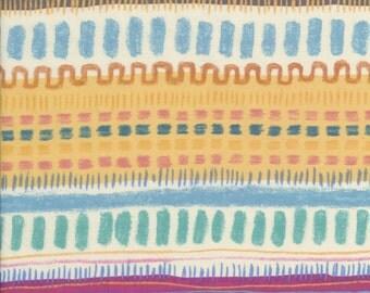Japanese Fabric: Keiko Goke Cheerful Stripe Cream  Yellow, Half Yard