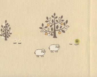 Japanese Fabric: Adorable Sheep Cream, Half Yard