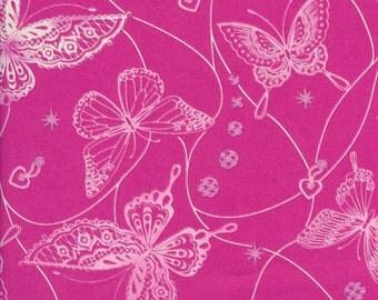 Japanese Fabric: Sevenberry Butterflies Pink, Half Yard