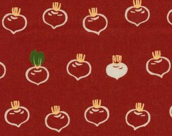 Japanese Fabric: Onions on Red, Half Yard