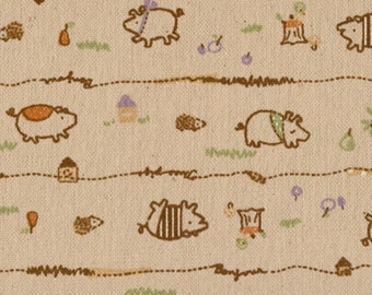Japanese fabric: Brown Line Pigs on Natural