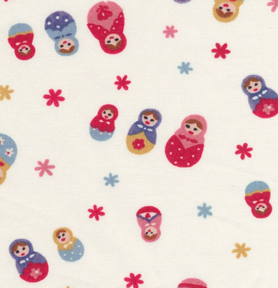 Simple Matryoshka in White (Red) - Japanese Fabric Half Yard