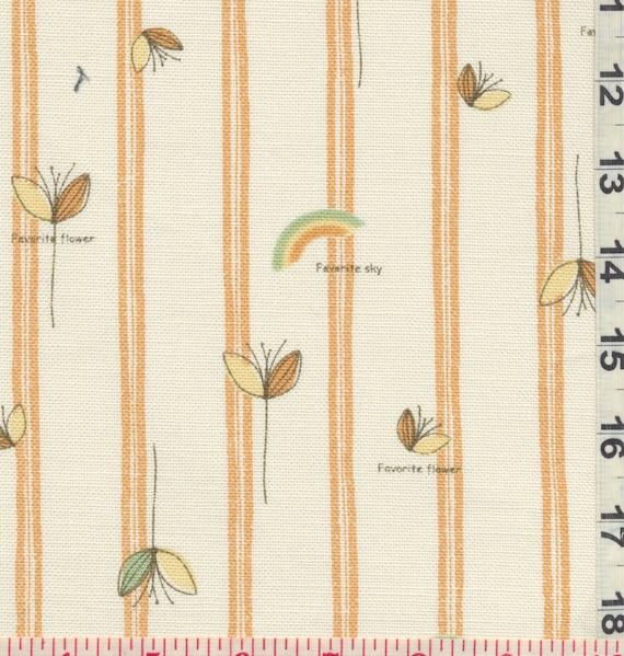 Japanese Fabric: Florals and Stripes Orange  - Kawaii  Half Yard