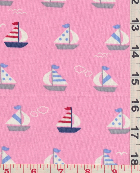 Japanese Fabric - Sail Boats Pink Cotton, FQ