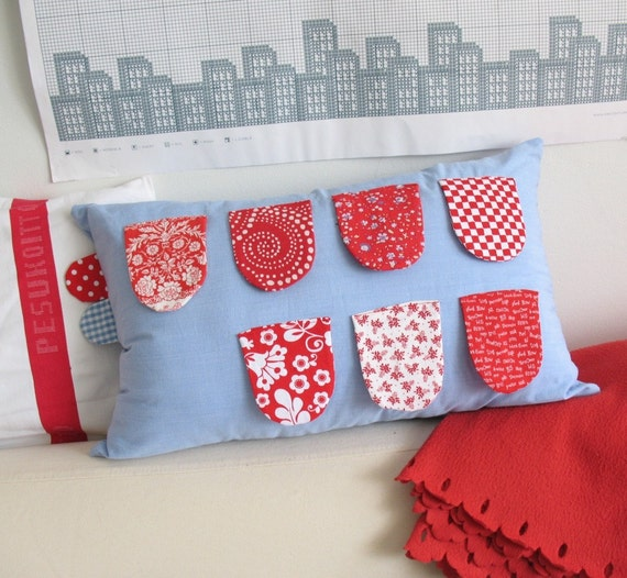 Secret message - flap cushion cover in blue and red