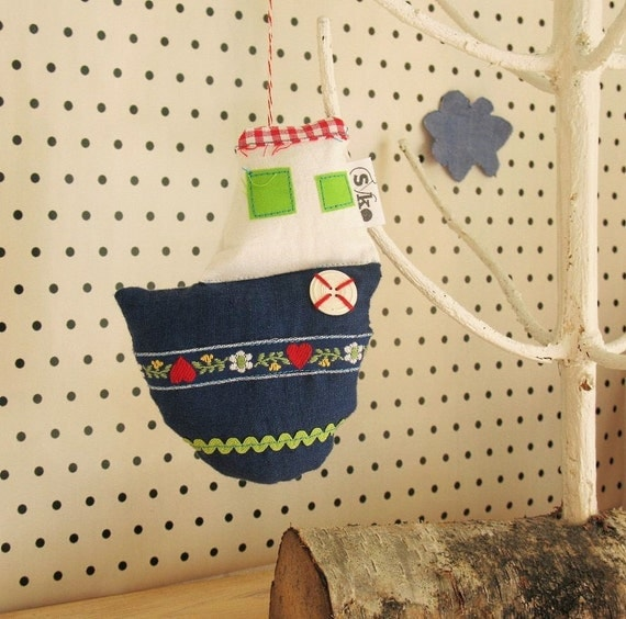 SALE Fishing boat 3 -stuffed ornament