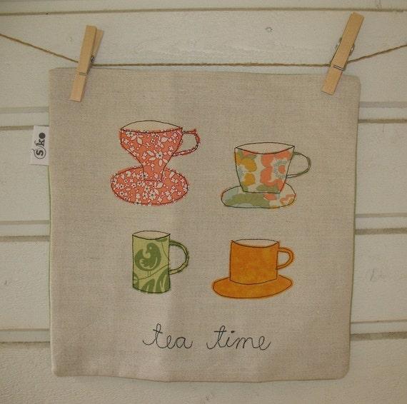 tea time - linen cushion cover