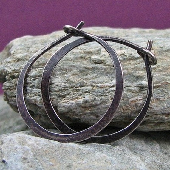 1 Inch Forged Sterling Silver Hoops - Antique Finish