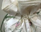 Patchwork Ivory and White Silk Brocade Drawstring Bag