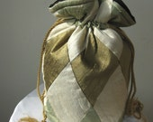 Verdigris, Ivory, Bronze Patchwork Silk Drawstring Bag